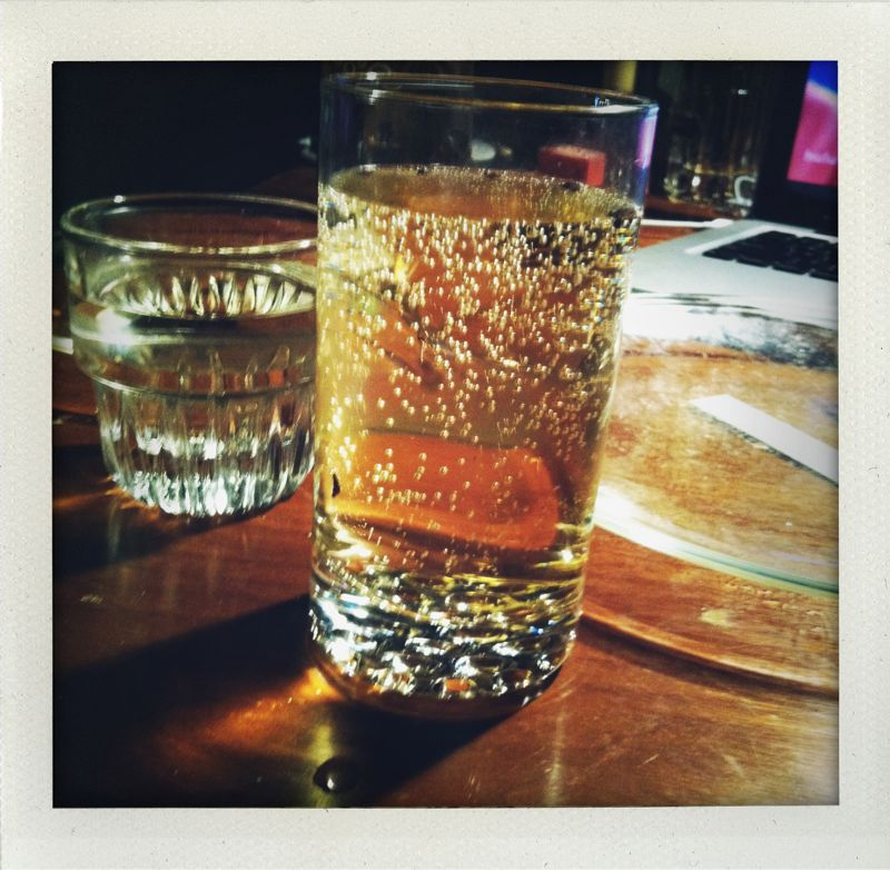 propermake :     Most refreshing drink ever! Half white wine and half carbonated tea with a tiny bit of elderflower syrup.