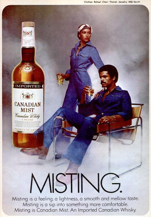 This 1970s Canadian Mist advertisement is the coolest! And her jumpsuit is back in style…