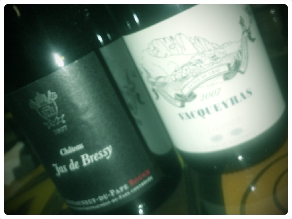 The lineup of Rhone reds for tonight's #winechat (Taken with  picplz .)