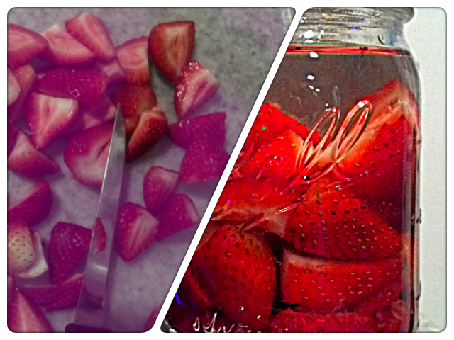 The beginnings of some amazing vodka!! I cut up a pint of strawberries and put a few in the bottom of a mason jar. I muddled those, then added the rest of the strawberries. Fill the jar to the top with vodka and shake a little. Put in the refrigerator for a week. Try to shake the jar everyday. Come back in a week and see how this turns out!