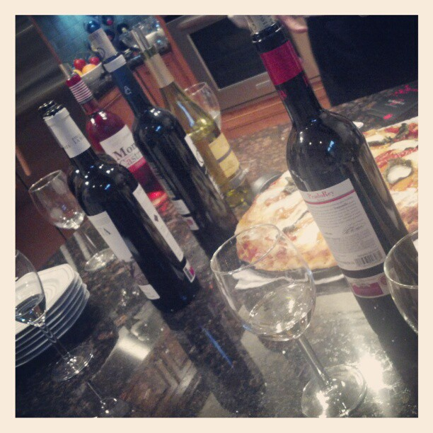 Wine tasting for clients.  Whites from WA state, reds from Ribera del Duero (Taken with  instagram )