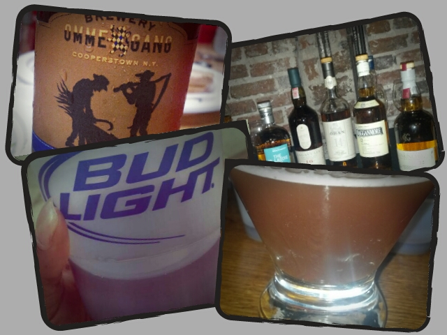 My 3-day weekend by the glass. Why 4 pics you say?? I started Friday ;-)   Top Left to right: Ommegang Scythe & Sickle; 6 different single malt scotches   Bottom: Red wine at Taste of DC in a Bud Light cup…sigh; Blood & Sand cocktail