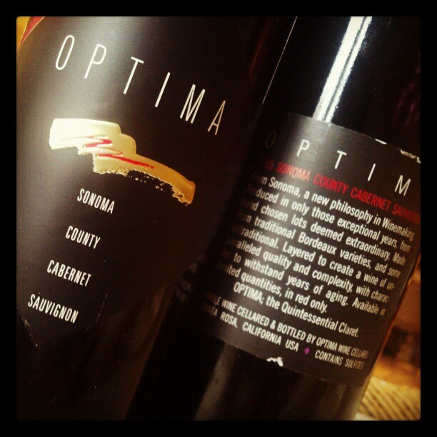 On today's tasting table, '85 Optima Cabernet Sauvignon
