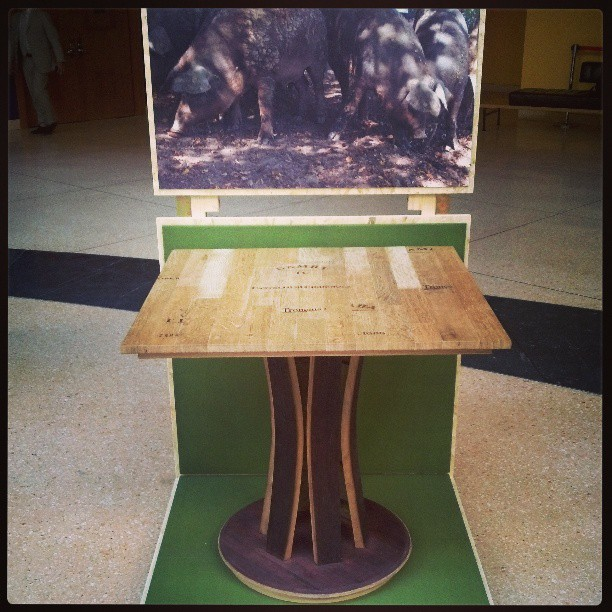 Table made from recycled wine barrels #wineanddesign #barrique (at Embassy of Italy)