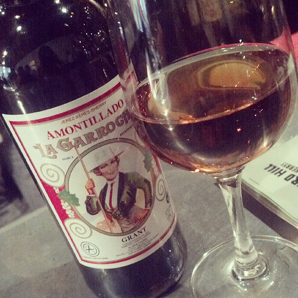 Amontillado Sherry - aged under flor, fortified, then aged longer w/o flor in Solera. Notes of toffee, mocha, dried citrus (at Mockingbird Hill)
