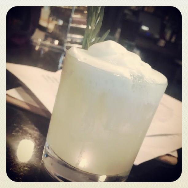 Esteban's Trouble - gin, rosemary, sugar, lemon, mint foam (at Quench)