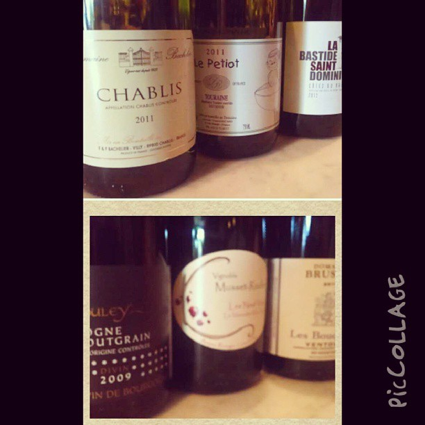 Free French wine tasting - the whites and the reds . Of course the Pinot (bottom left) was my fave #myheartbelongstoBourgogne (at Le Grenier)   Top Row:     Domaine Florence Bachelier - Chablis (Chardonnay)     Vincent Ricard - Touraine (Sauvignon Blanc)     Bastide Saint Dominique - Cote du Rhone (Viognier, Clairette)      Bottom Row:      Domaine Boulet - Bourgogne Passetoutgrain (Pinot Noir, Gamay)     VignoblesMusset Rouiller - Anjou (Cabernet Franc)     Domaine Laurent Brusset - Cote du Ventoux (Grenache)