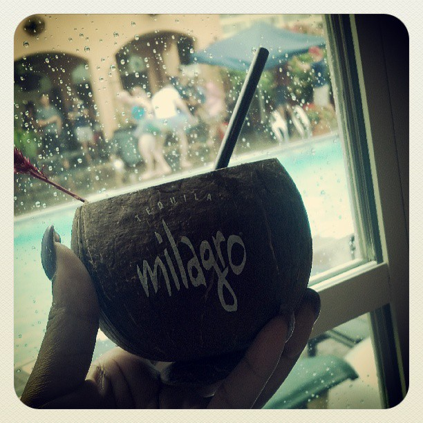 Milagro pool party…in the rain. And yes, those guys are wearing tu-tu's #TOTC  (at Hotel Monteleone Rooftop Pool & Patio)