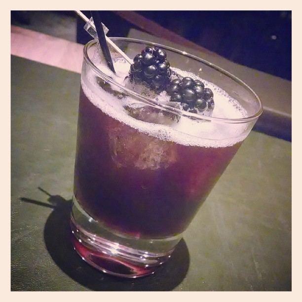 Pom-blackberry balsamic bourbon — bulleit, pomegranate, agave nectar, blackberry balsamic
