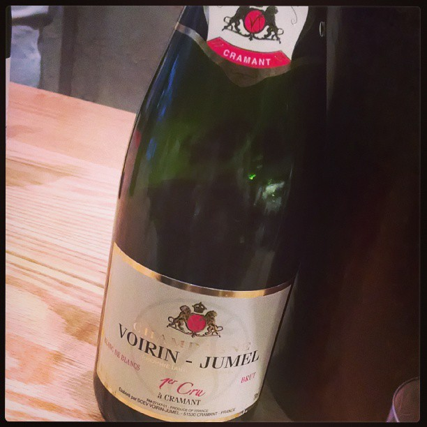 Winding down the day with bubbly. Champagne Voirin-Jumel, 100% Chardonnay. Typical toasty, bready notes with hints of apple