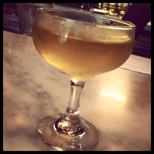 Bijou (French for jewel) - fino sherry, corsair barrel aged gin, yellow chartreuse #craftspiritsofPoe (at Room 11)