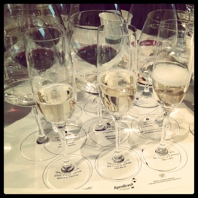 Liquid Lunch is served!! #wineflights #WinesofBrasil #instawine #waitingforthemeat (at Fogo de Chao)
