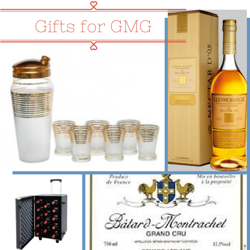 What I'd love to see under the tree on Christmas morning!!   Glass set from  The Hour Shop     Glenmorangie Nectar d'Or Scotch     Sommelier Travel Case    My fave White Burgundy - Batard-Montrachet