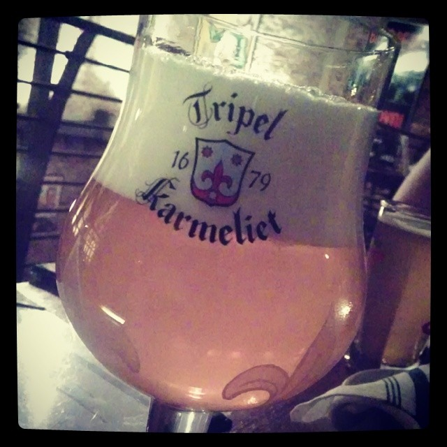 It's a #beer night! Tripel Karmeliet - golden bronze ale with a creamy head. Brewed with raw & malted barley, wheat, oats, & house yeast. Restrained hoppiness, spicy, w banana and vanilla notes (at Hopleaf Bar)