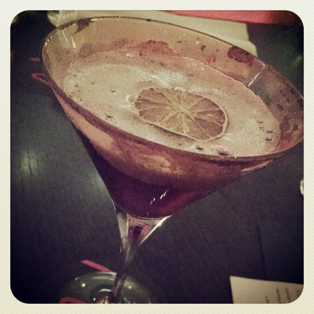 Coco Monroe - calvados, red wine, white cacao, w cinnamon rim #cocktails ##GMGRoadtrip  (at Ruba Bar)