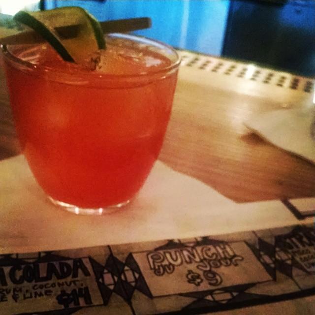 Punch du Jour #whiskey #campari #amaretto #sparklingwine