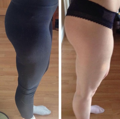 """Hi Katie! I've been doing your Build A Booty, at home. This is week 5 of my progress picture. I can definitely tell a difference. I'm a lot firmer on my legs and booty. As well as being stronger. Thanks for being awesome!"""
