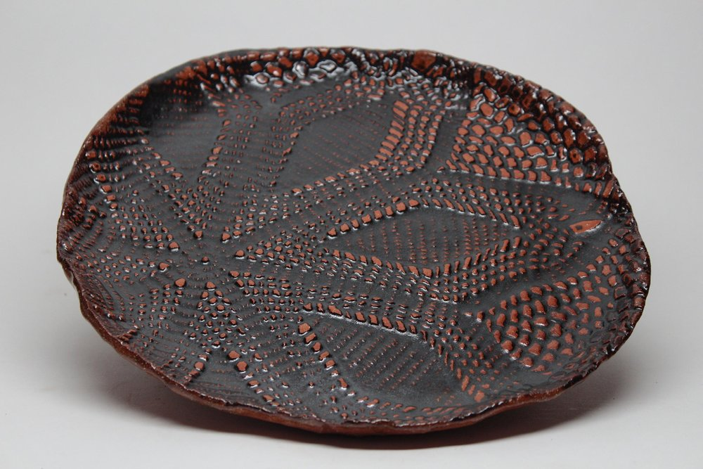 Horn_Doilied Plate_Earthenware_12 inches across.jpg