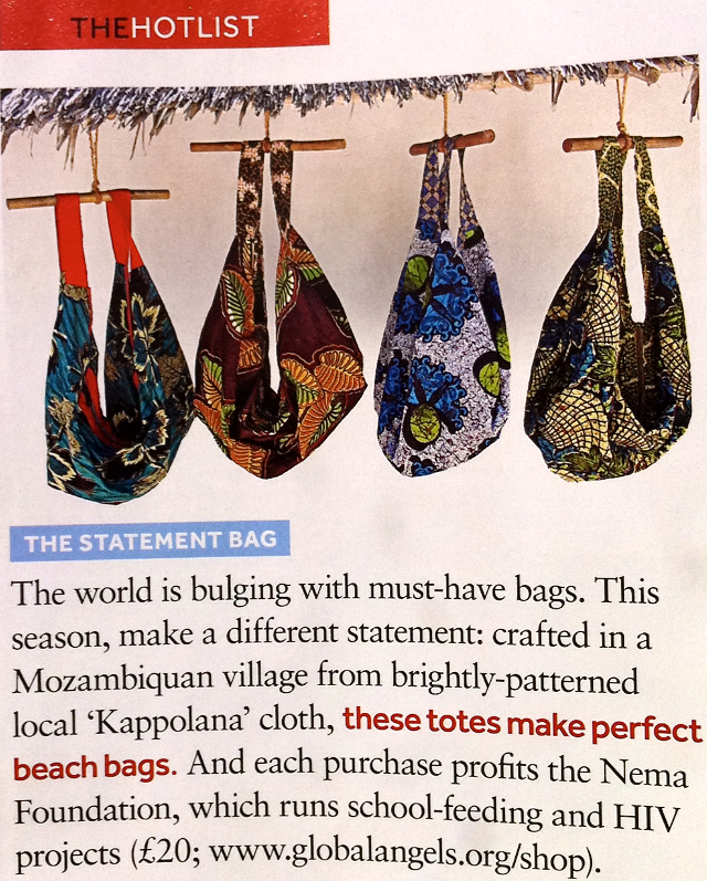 Nema bags make it onto the Sunday Times Travel Mag's HOT LIST!!! You can now buy the bags online through our friends, and great supporters, at Global Angels.