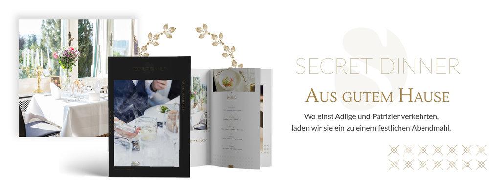 SECRET DINNER Catering Broschüre Aus gutem Hause
