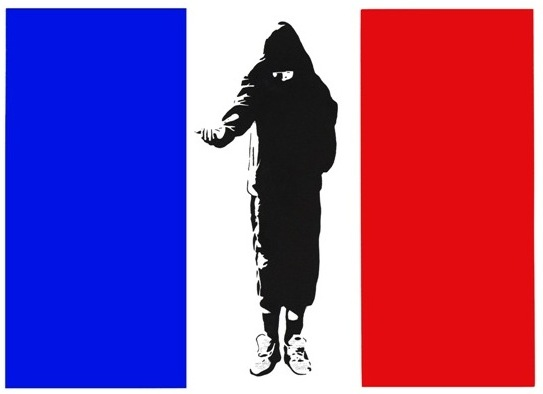 ** Artwork shown above: Homeless in Paris, (artist's proof) by Blek le Rat, view **