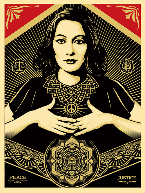 ** Artwork shown above: Peace & Justice Woman by Shepard Fairey **