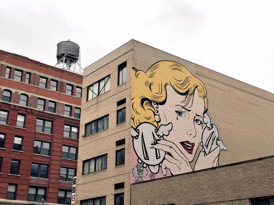 """Double Crossed"" wall mural in NYC; photo taken by Reem Gallery in January 2017."