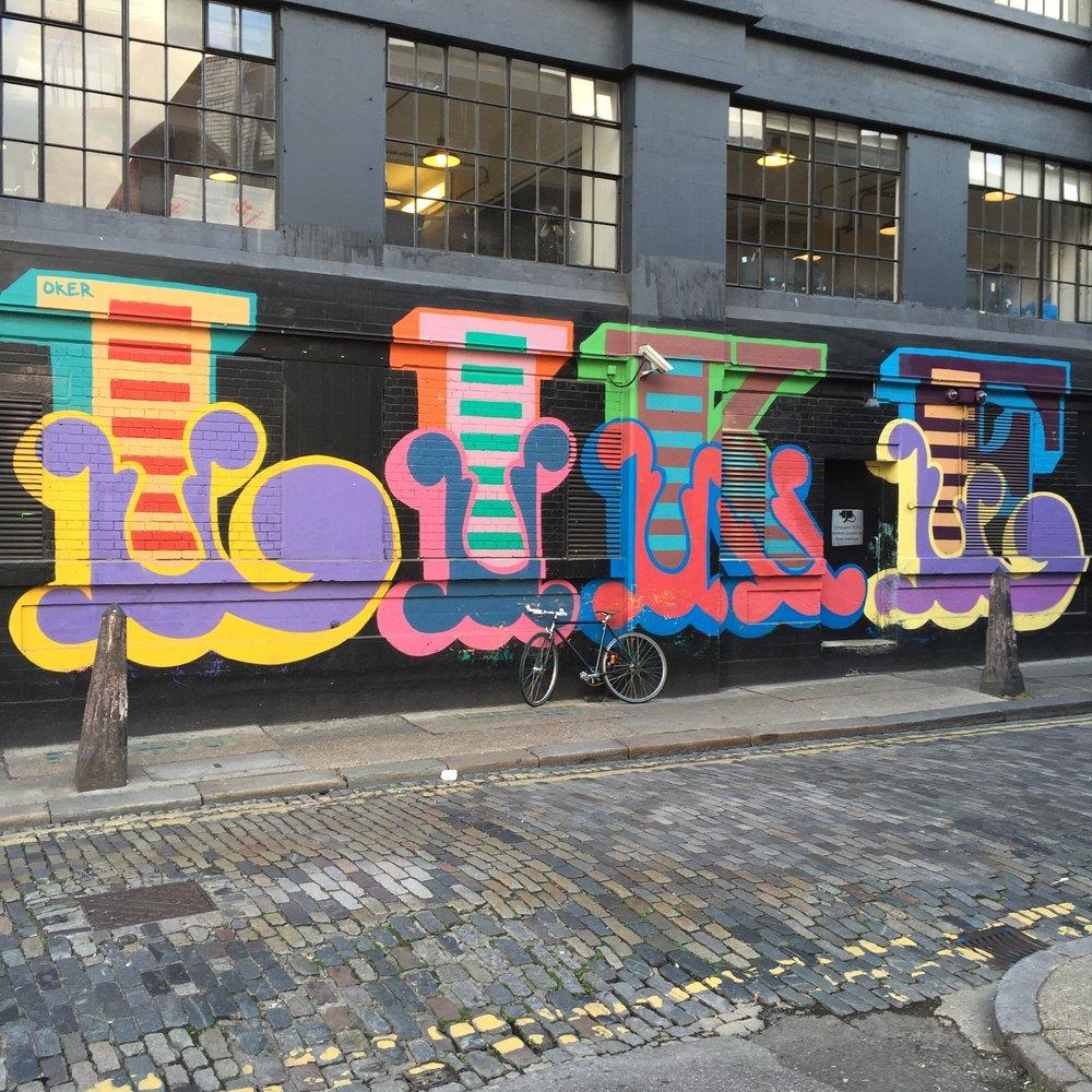 "Segment of ""Like Nothing Else"" mural in Ebor Street, London. Photo taken by Reem Gallery in 2016."