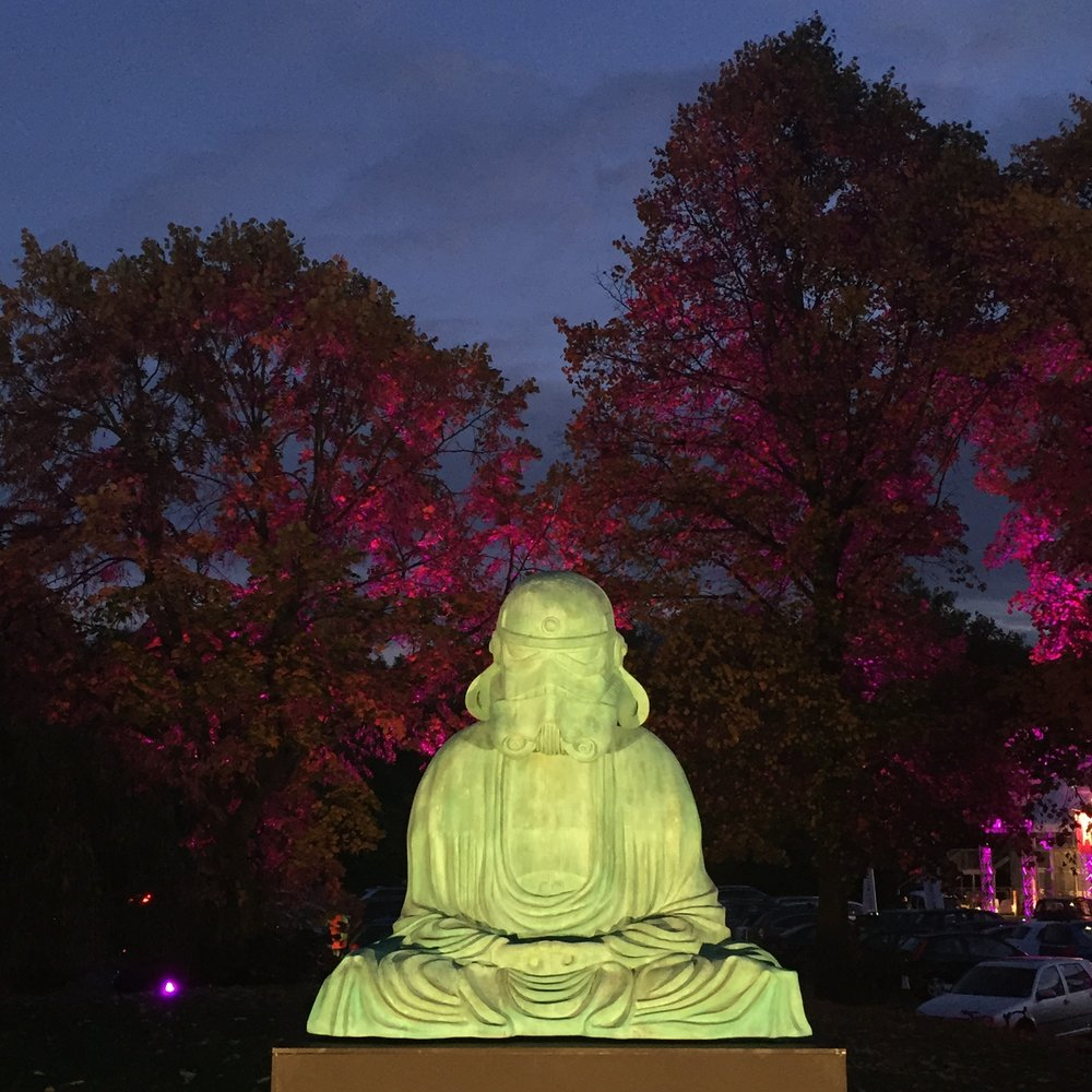 """Zen Trooper"" sculpture exhibited in Battersea Park, London. Photo taken by Reem Gallery in 2016."