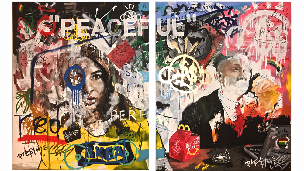 'Peaceful Chaos', a mixed-media diptych from our new high in-demand emerging artist Preston Paperboy. £11,500 sold as a pair.  View the collection here.