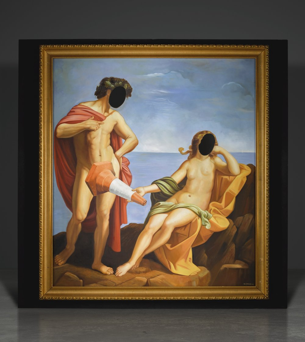 'Bacchus at the Seaside' by Banksy. Vandalised oil painting in artist's frame. Photography courtesy of Sotheby's.
