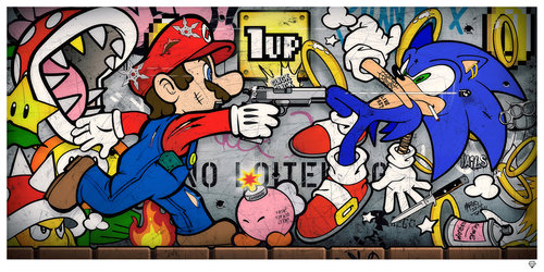 JJ Adams, Sonic vs Mario, signed limited edition of 95. Price: £635