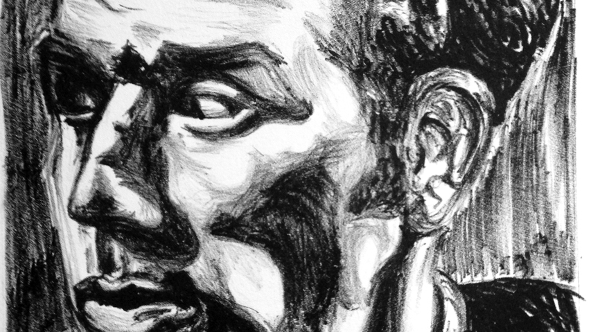 "Detail of ""Kramer"" by Matthew Clay-Robison. Lithograph. 11"" x 14""."