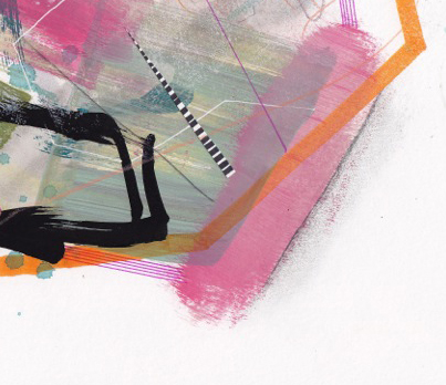 "Detail of "" 141028-2 "" by Jaime Derringer. Mixed Media on Paper. 11"" x 14""."