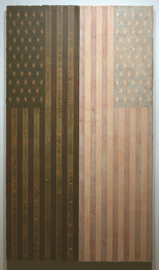 "Stephen March.  Tribes XI.  Acrylic on Canvas on Plywood. 70""x 40"""