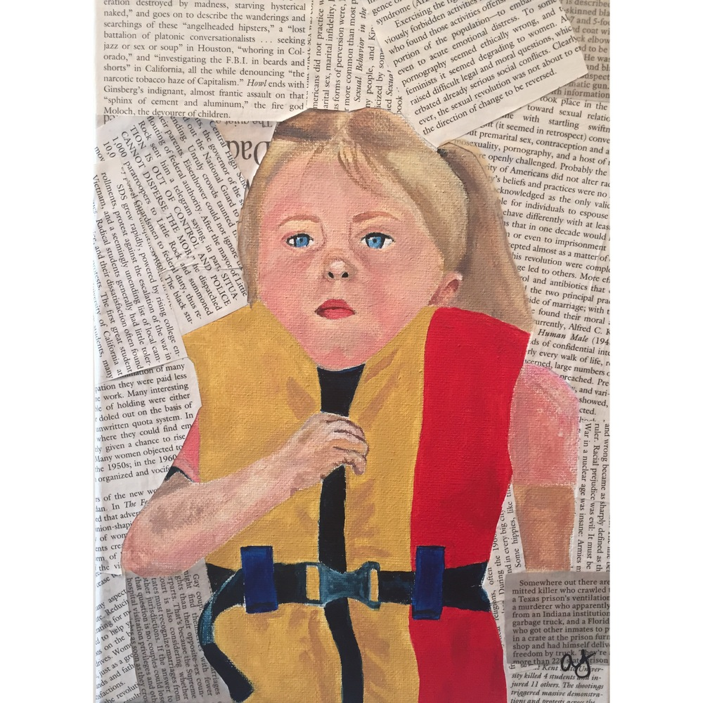 "Alaina Jones.  Think Of The Children . Acrylic and Newspaper on Canvas. 9""x 12"""