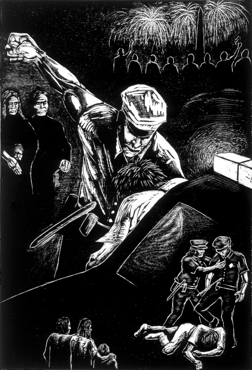 "Matthew Clay-Robison.  Police Brutality, 4th of July (Washington DC) .   Woodcut print. 33"" x 40""."