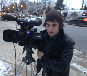 """American University student Ford Fischer with """"News2Share"""""""