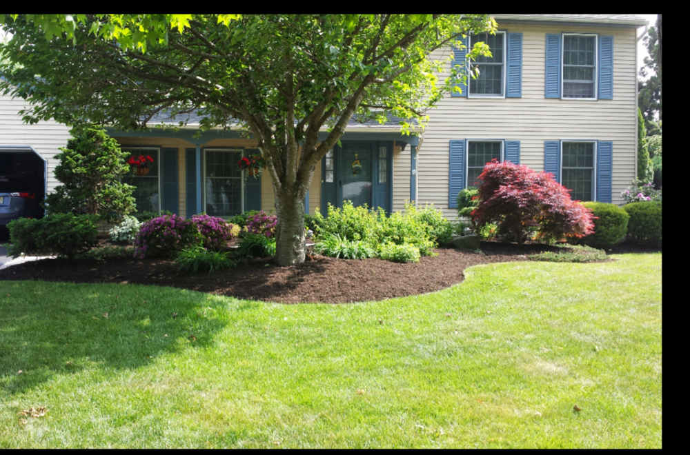 Landscape Maintenance in Mercer County New Jersey. We trimmed the shrubs and applied mulch to the garden beds.