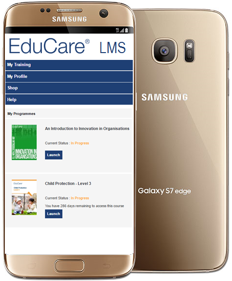 The same responsive LMS viewed on a Smartphone