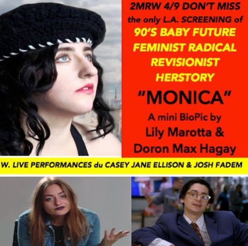 Join us for the LA premiere of MONICA on 4/9 at 9pm at the Lyric Hyperion Theater. Free! First come first serve!