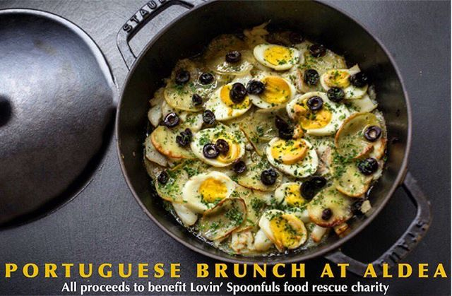 """Join us Sunday, MARCH 4TH, as Chef George Mendes offers a brunch menu inspired by Lisbon's most beloved ingredients. For $65, receive a complementary mimosa and choose between dishes like Bacalhau Casserole with potatoes, eggs, onions and black olives and Creek Stone Farms Skirt Steak """"Bitoque"""" with a sunny side up egg and Port wine sauce. All proceeds of the dinner will go to Boston-based food rescue charity, Lovin' Spoonfuls, who will be sponsoring George's first time running in the Boston Marathon this April. Book now on @opentable! #portuguese #brunch #sundaybrunch #michelinstar #nycdining #nycrestaurant"""