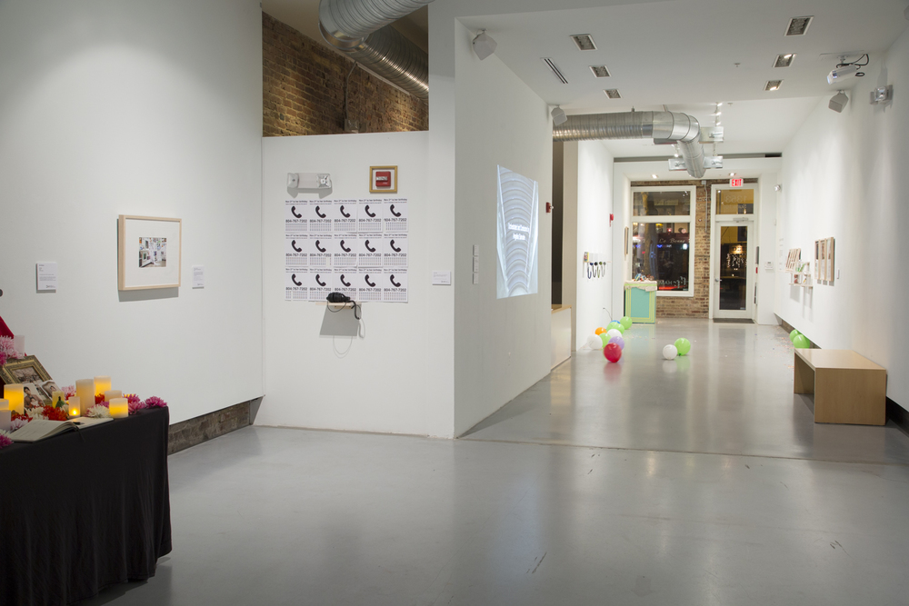 "Installation view of the exhibition ""Assignment: Happy Birthday"" (2015) at Hamiltonian Gallery"