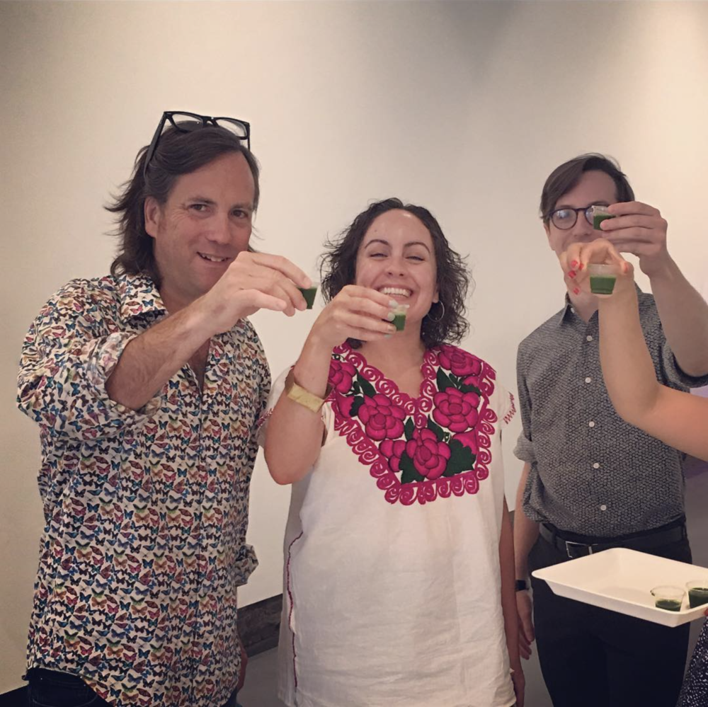 Cheers with a wheatgrass shot! Peter Nesbett, the director of Washington Project for the Arts, came to take a wheatgrass shot with us! @wpadc donated a bunch of lumber for #Permacounterculture Thank you WPA! #artneighbors