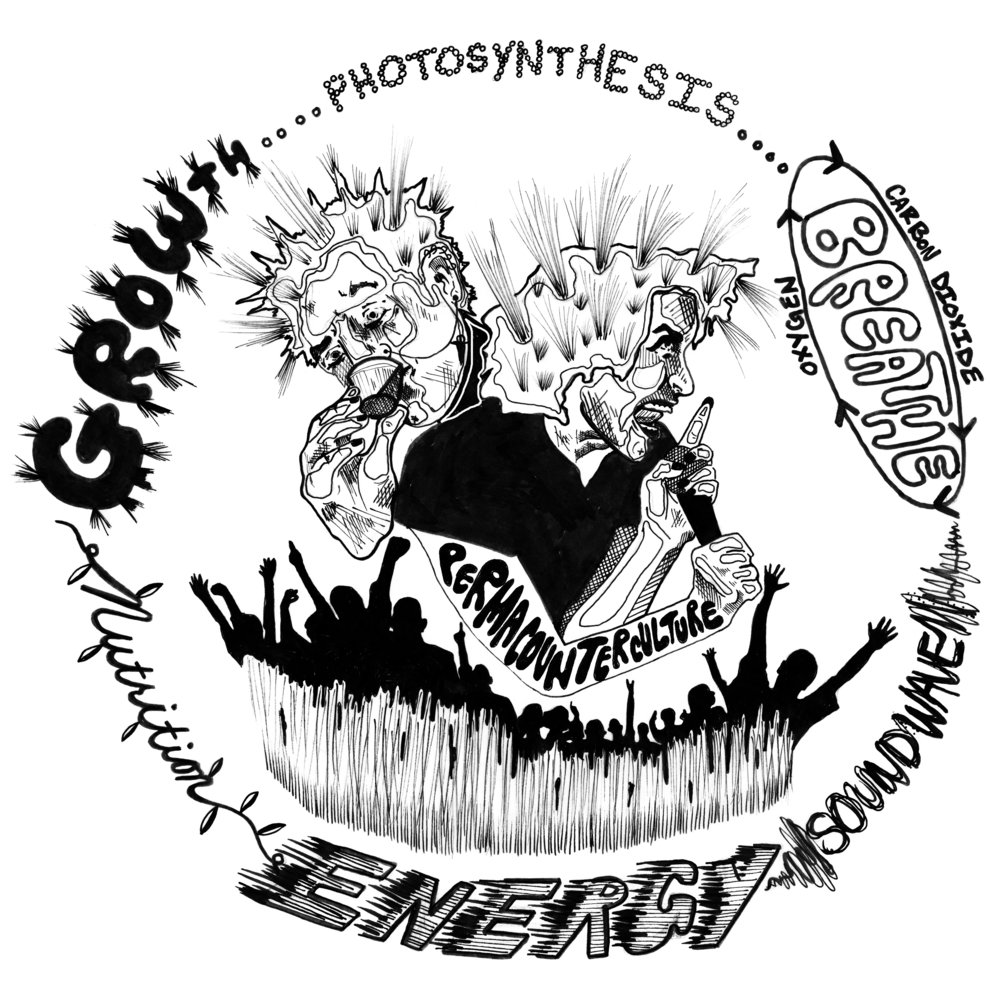"""Permacounterculture Diagram by Sarah O'Donoghue. Artist Sarah O'Donoghue created a dynamic artwork capturing the punk spirit of """"Permacounterculture."""" Sarah has created fliers and artwork for the punk community since she was a teenager growing up in Washington, DC."""