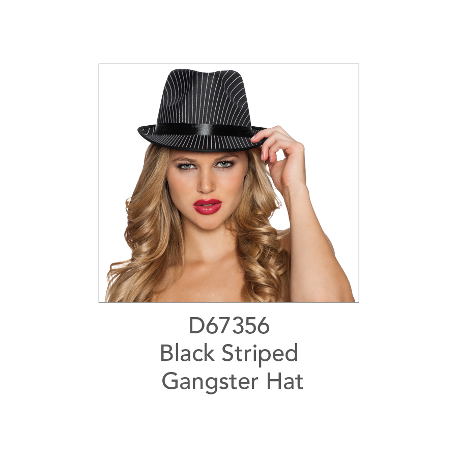 D67356 Black Striped Gangster Hat