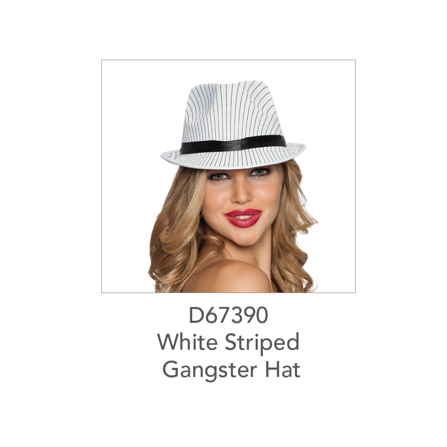 D67390 White Striped Gangster Hat