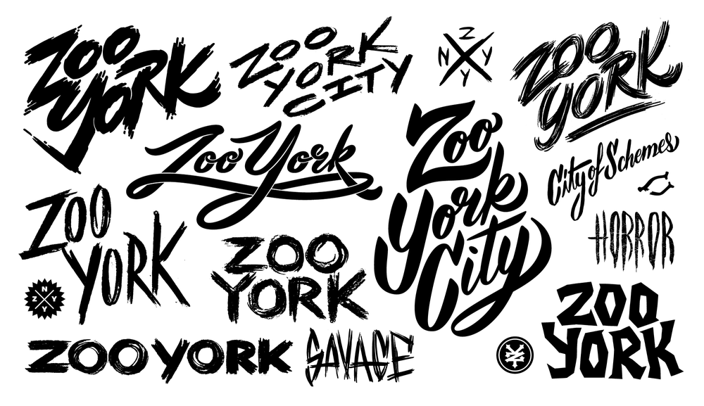 Vector Art. Assorted custom lettering pieces for Zoo York.