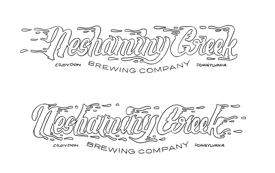 Pencil art. Left and Right custom lettering logos for Neshaminy Creek Brewing Company Vehicles and distributor trucks.