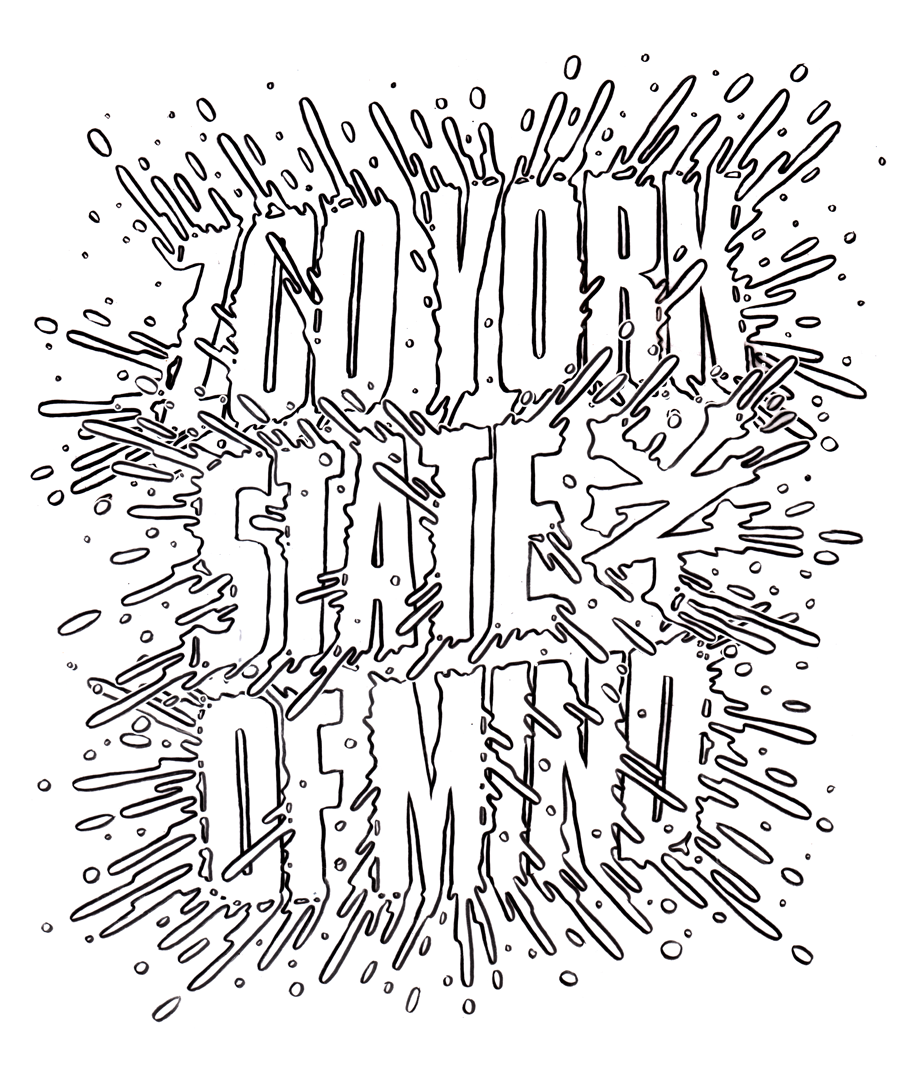Pencil Art. Custom lettering apparel design for Zoo York. Final Ink Art to the right.